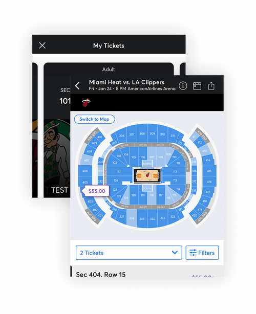 Composite Image of Miami Heat Mobile App: Arena Map and My Tickets screens