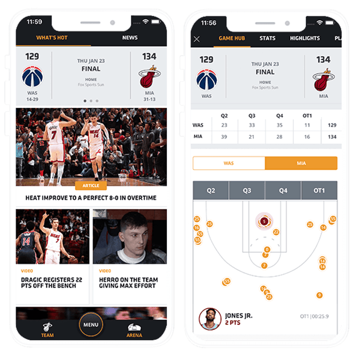 Composite Image of Miami Heat Mobile App: Home and Shots screens