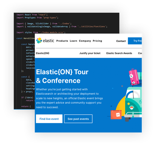 Composite Image of Elastic website and underlying code