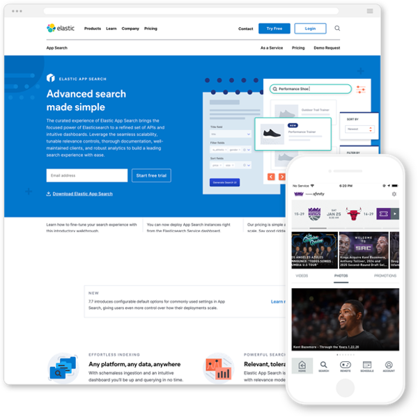 Screenshots of elastic website and the Sacramento Kings mobile app