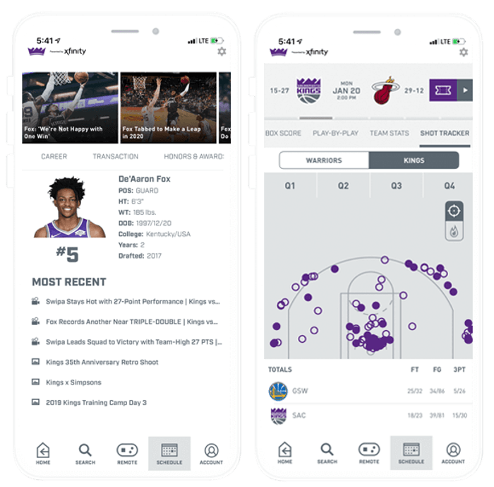 Composite Image of Sacramento Kings Mobile App: Player Stats and Shot Tracker Screens