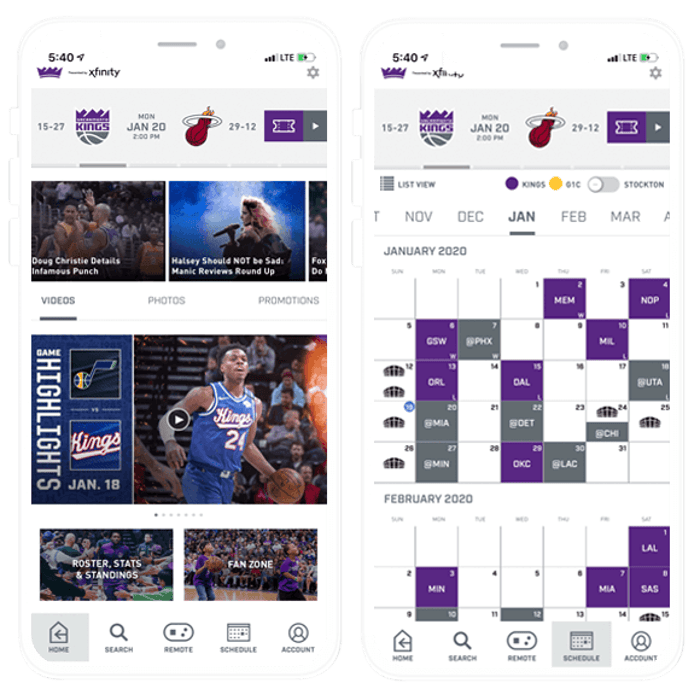Composite Image of Sacramento Kings Mobile App: Home and Schedule Screens