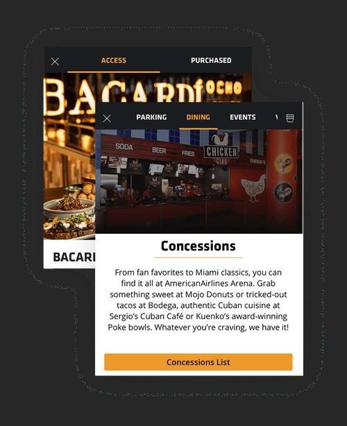 Composite Image of Miami Heat Mobile App: Dining screens
