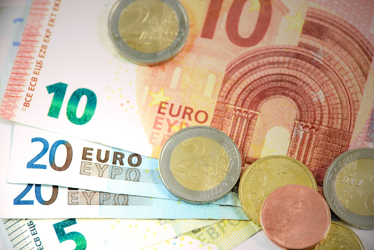 Euros currency of notes and coins