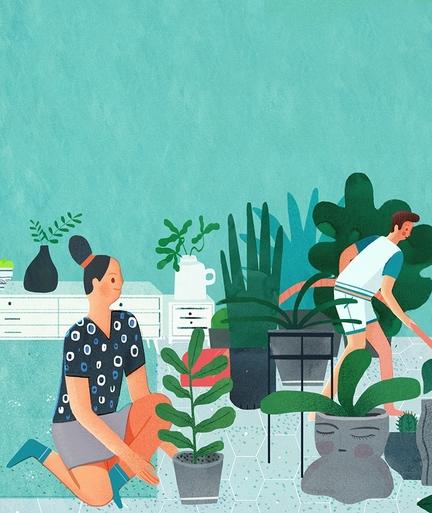 Eine Illustration zweier Menschen, die eine von Pflanzen umgebene Unterkunft vorbereiten.