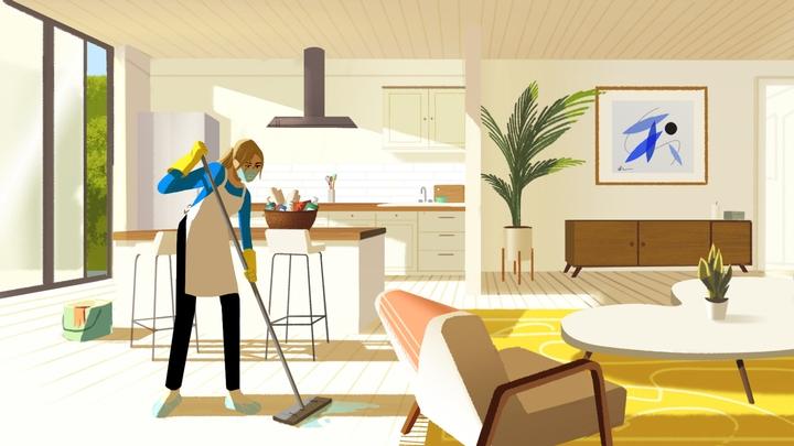 주방과 거실 곳곳을 청소하는 여성의 이미지.