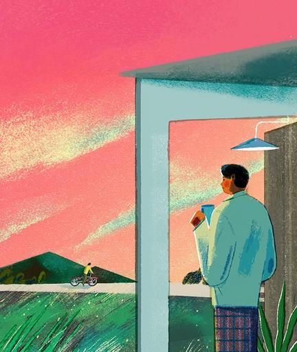 Die Illustration zeigt eine Person, die einen Kaffeebecher in der Hand hält und aus dem Fenster auf einen vorbeiradelnden Fahrradfahrer schaut.