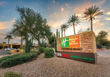 Holiday Inn Club Vacations Scottsdale Resort entrance sign with desert landscaping