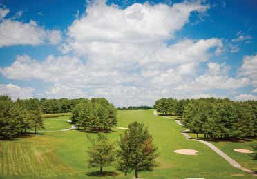 Aerial view of the golf course at Apple Mountain Resort in Clarkesville, GA