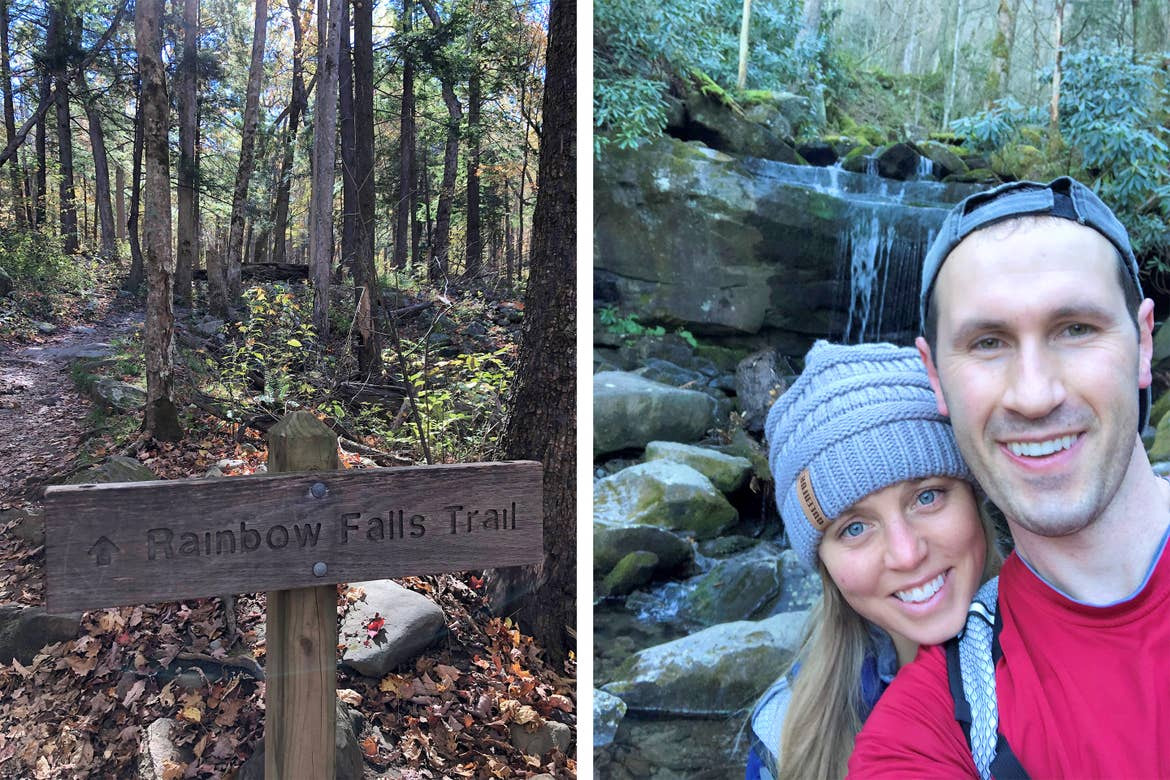 Left: A wooden sign that reads 'Rainbow Falls Trail' surrounded by a forest. Right: A blonde woman (left) wearing a grey beanie poses a man (right) wearing a grey baseball cap backwards and red t-shirt in front of a waterfall.