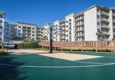 Outdoor basketball court at Galveston Beach Resort in Texas.