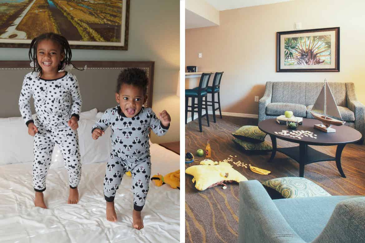 Left: Featured Contributor, Tina Meeks' daughter and son making jumping on the bed of their villa at our Orange Lake resort in Orlando, Florida. Right: Interior of East Village villa with gray couches, and children's toys on the floor.