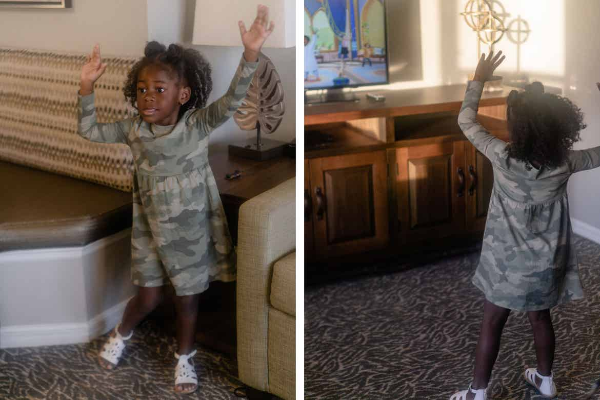 Left: Author, Kimberly Gelin's daughter, gets her 'wiggle' on. Right: Author, Kimberly Gelin's daughter, gets her 'wiggle' on in front of the tv at our Villa at Orange Lake Resort in Florida.