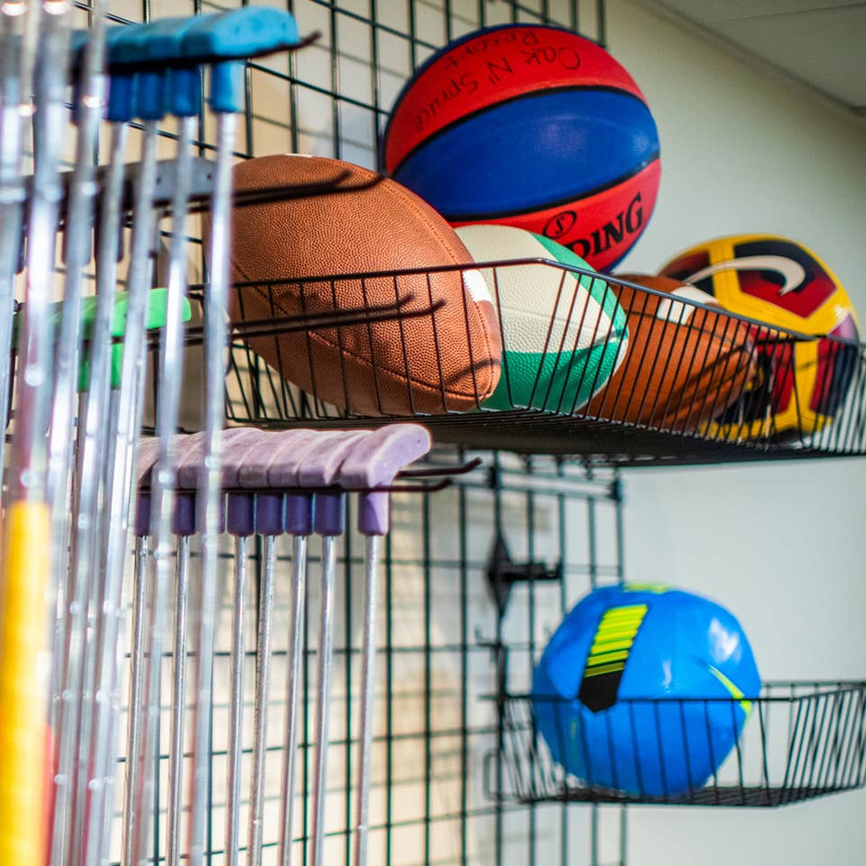 Putters, footballs, soccer balls and basketballs at the Marketplace at Oak n' Spruce Resort in South Lee, Massachusetts.