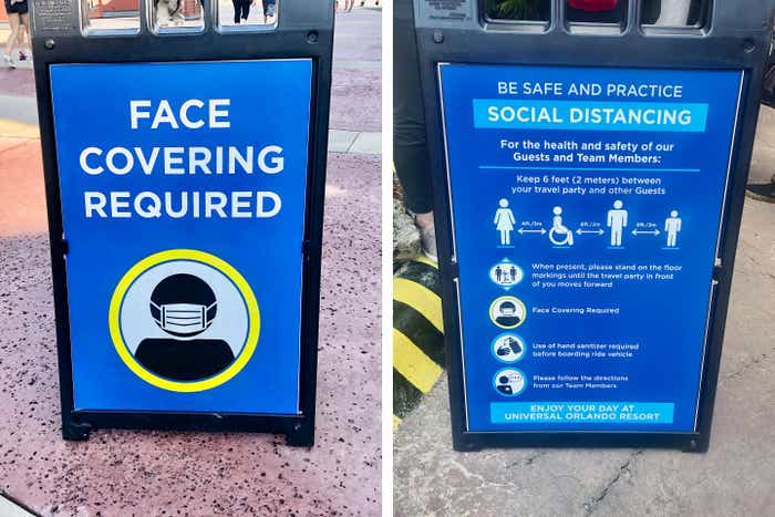 Left: Safety signage reads, 'FACE COVERING REQUIRED.' Right: Signage indicating rules to maintain Safety and Social Distancing.