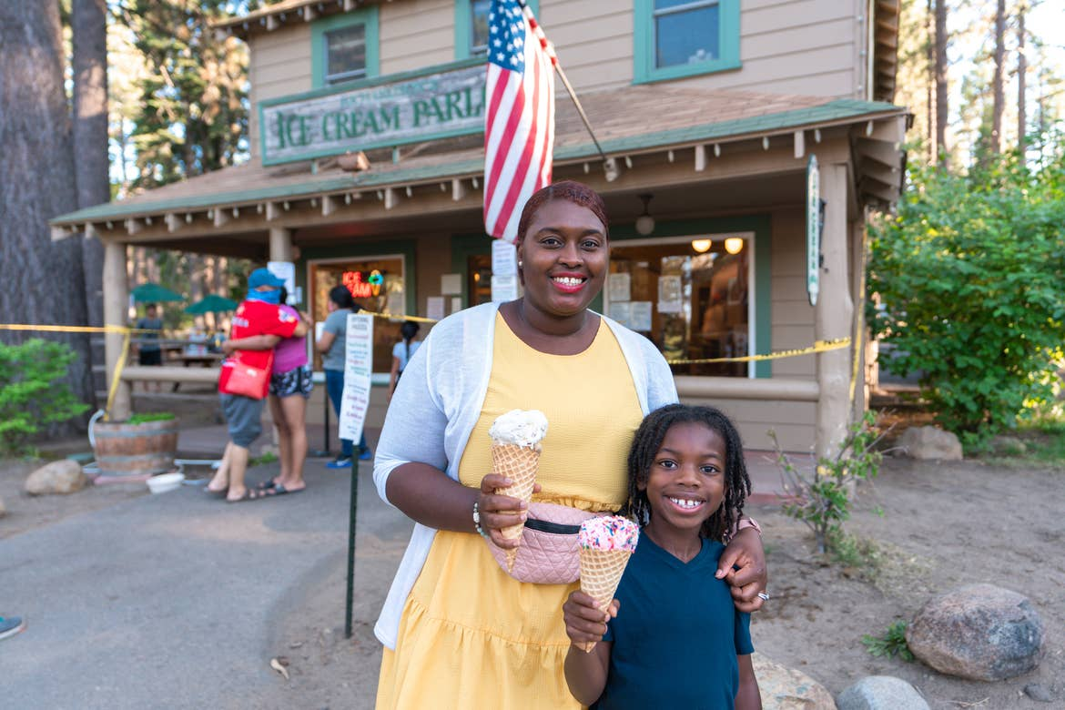 Karen and her son with their ice cream cones outside Camp Richardson's Ice Cream Parlor.