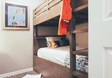 Children's bunk beds in a two bedroom villa in River Island at Orange Lake Resort near Orlando, Florida