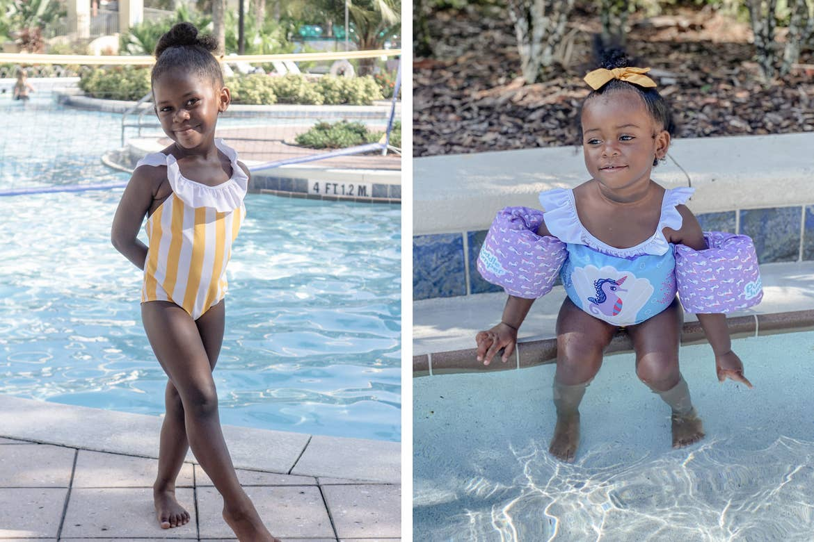 Left: Author, Kimberly Gelin's daughter, poses in a yellow swimsuit. Right: Author, Kimberly Gelin's daughter, wears her swimsuit and floaties in our pool at Orange Lake Resort in Florida.
