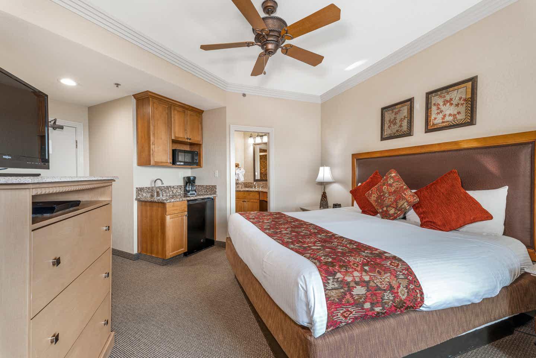 Bedroom in a Ridge Tahoe studio villa at Tahoe Ridge Resort
