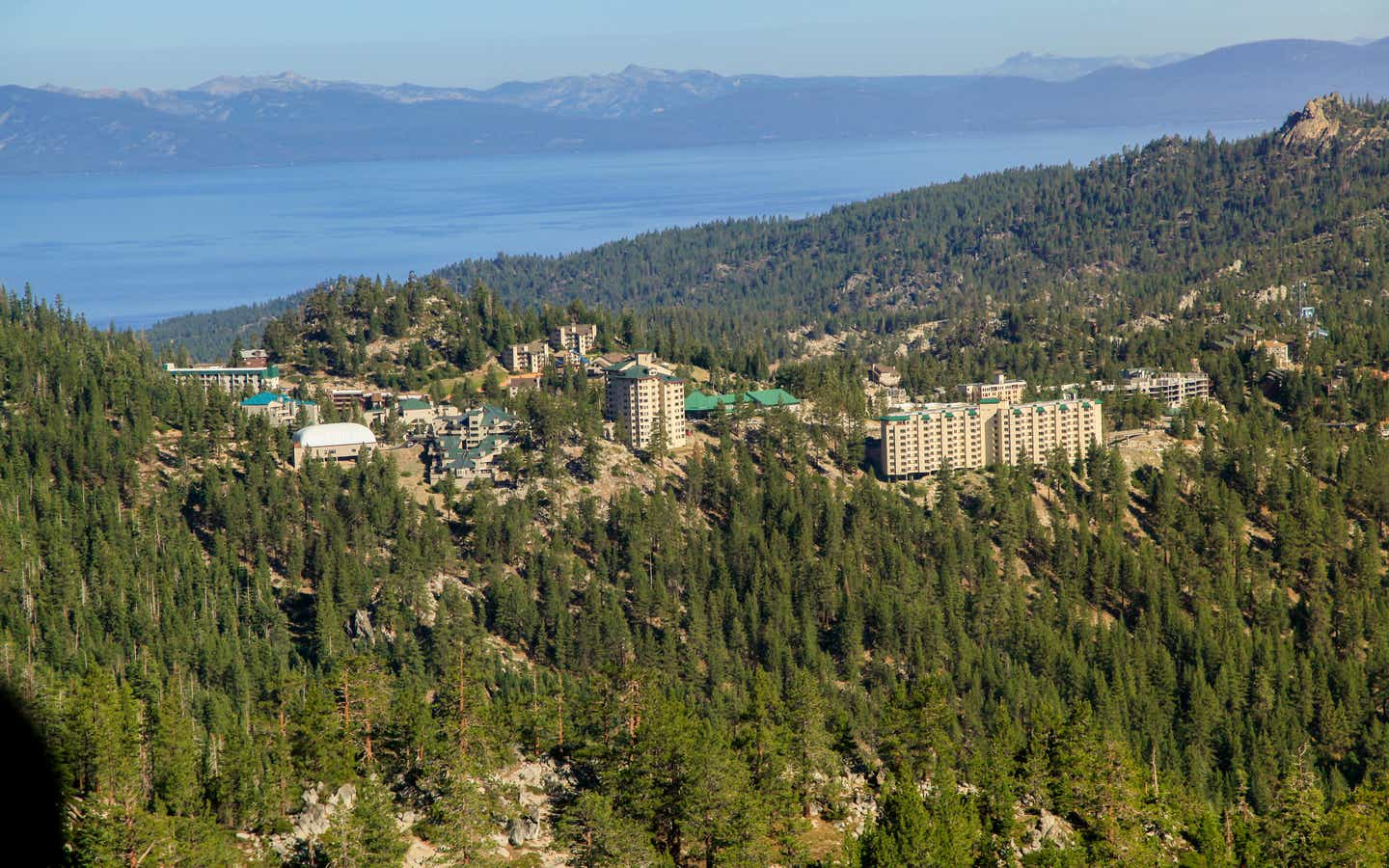 Aerial view of Tahoe Ridge Resort in the summer next to Lake Tahoe