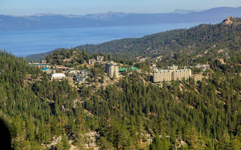 Aerial view of Tahoe Ridge Resort in the summer next to Lake Tahoe