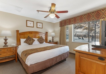 Bedroom in a Crest Pointe two-bedroom villa at Tahoe Ridge Resort