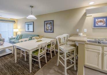 Dining room in a two-bedroom villa at Galveston Seaside Resort