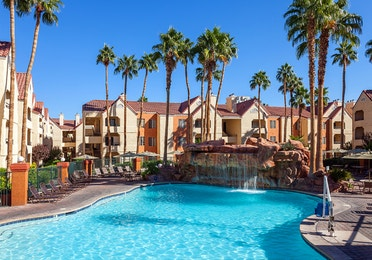 Pool with waterfall at Desert Club Resort in Las Vegas