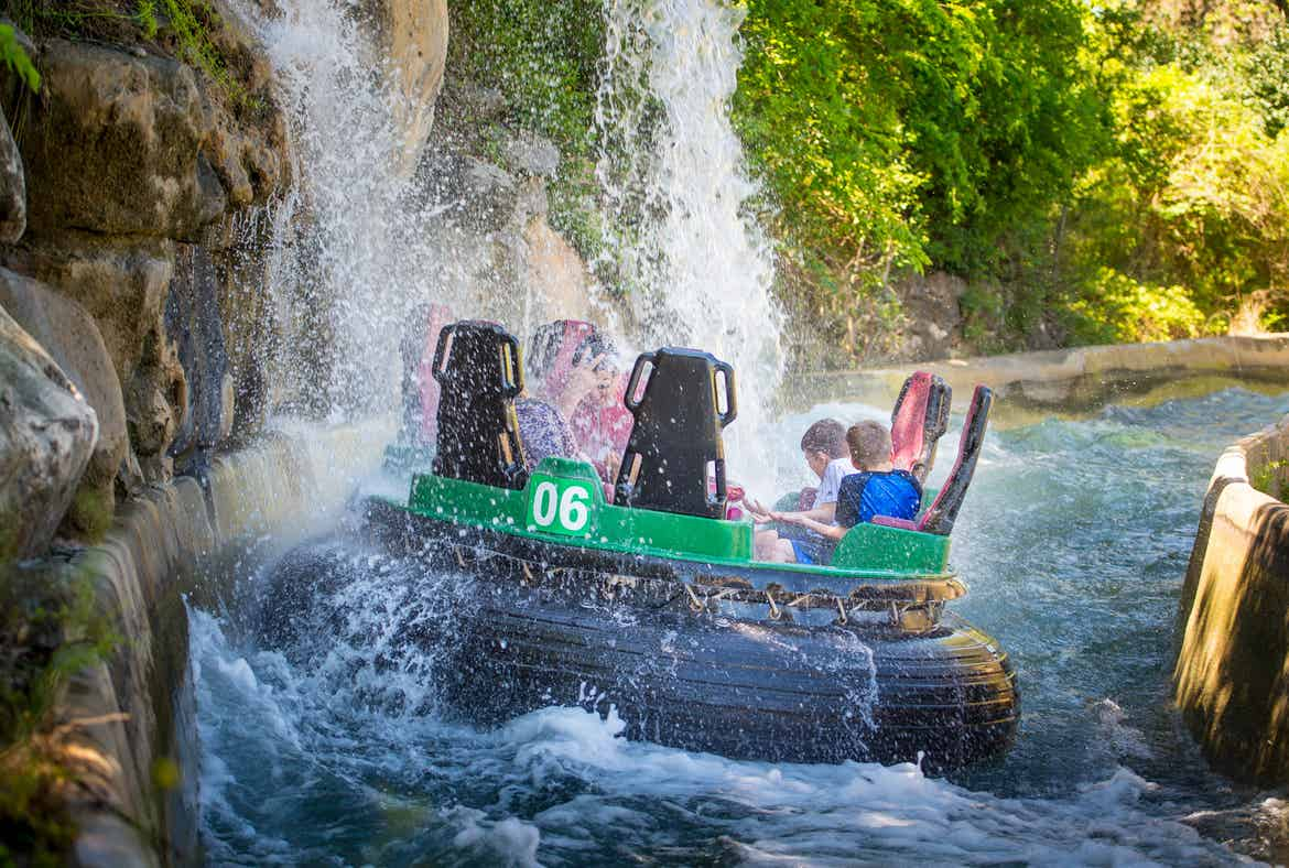 A water raft ride with several guests at SeaWorld San Antonio.