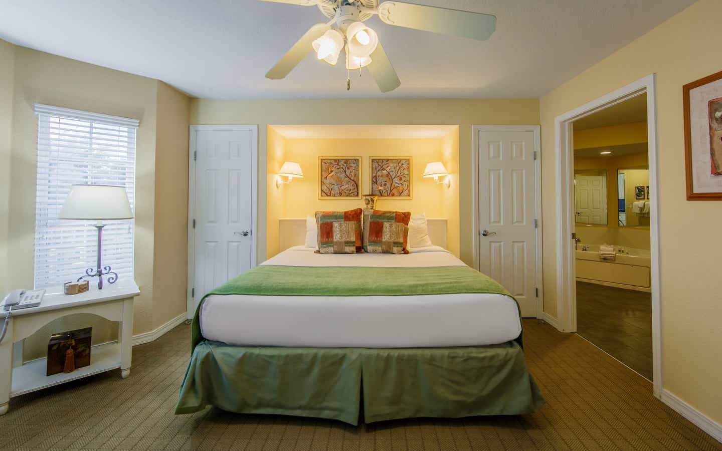 Bedroom with two closets in a two-bedroom presidential villa at the Hill Country Resort in Canyon Lake, Texas.