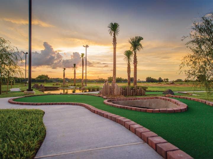 Outdoor mini golf course at Orlando Breeze Resort near Orlando, Florida.