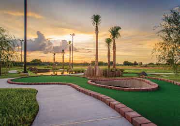 Outdoor mini golf course at Orlando Breeze Resort near Orlando, Florida.