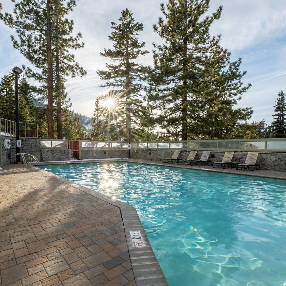 Outdoor pool at Tahoe Ridge Resort in Stateline, Nevada.