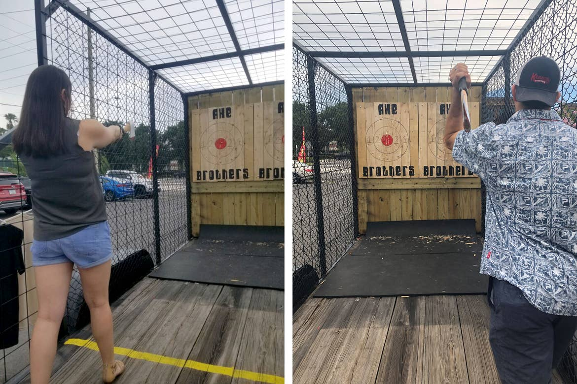 Left: Featured Contributor and Checking In Editor, Tori Ferrante, prepares to throw an axe. Right: Tori's husband, Books, mid-ax throwing.