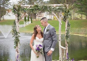 Bride and groom getting married.