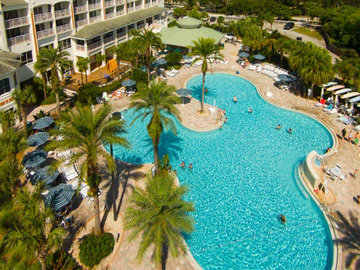 Aerial view of main pool at Cape Canaveral Beach Resort.