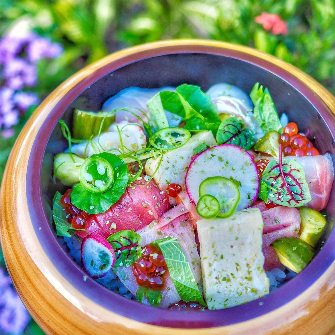 A colorful dish from Kabooki Sushi is held above some lush greenery.