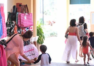 Family visiting the Marketplace at Orange Lake Resort near Orlando, Florida