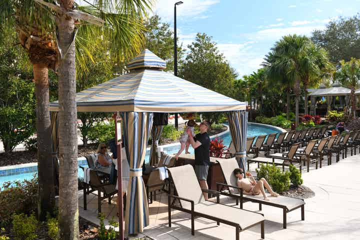 Cabana by the lazy river at Orange Lake Resort near Orlando, Florida