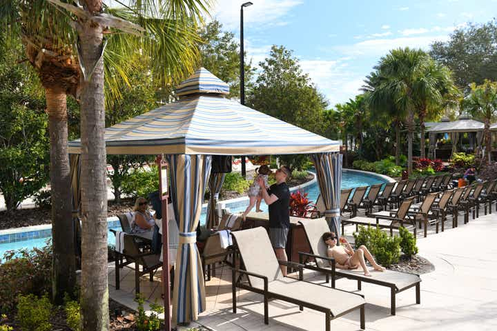 Cabana by the lazy river at Orange Lake Resort near Orlando, Florida
