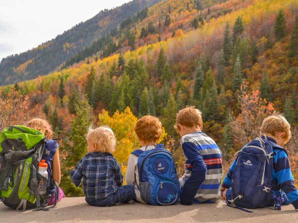Jessica's kids sitting in front of fall foliage in the Smoky Mountains