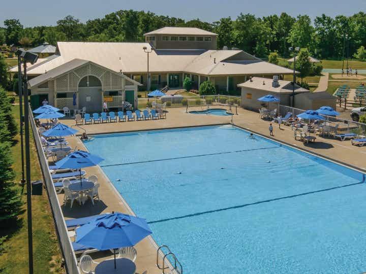 Outdoor pool at Fox River Resort in Sheridan, Illinois.
