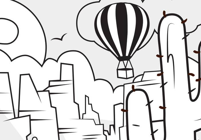 A coloring sheet featuring a hot air balloon in the desert