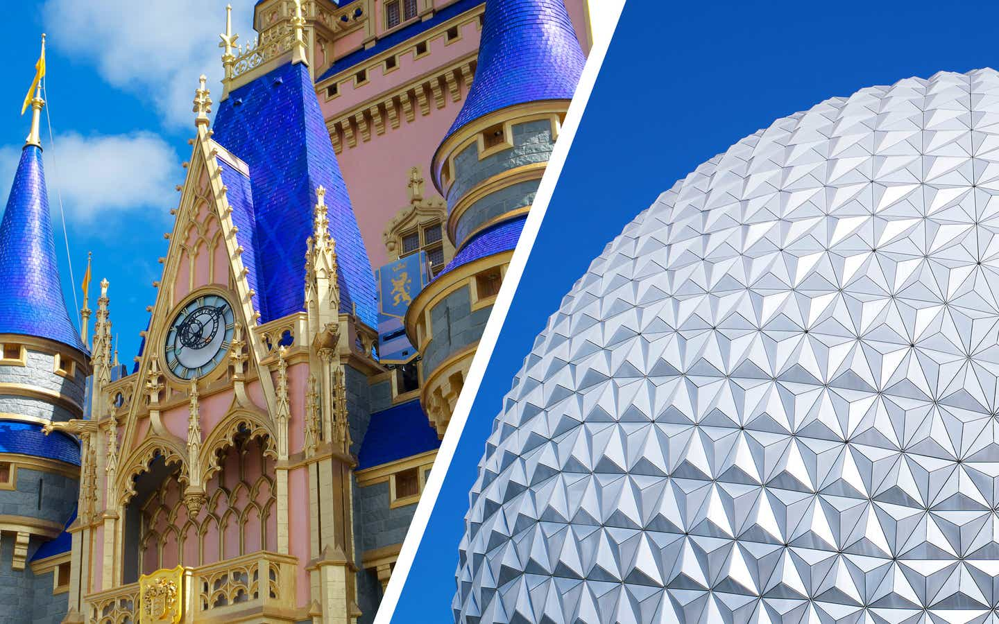 Left: Cinderella's Castle at Magic Kingdom. Right: Spaceship Earth at EPCOT.