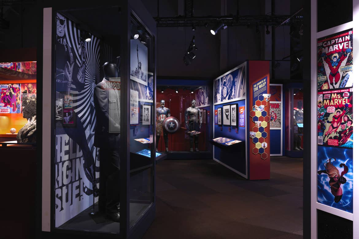 An exhibition room containing various Marvel collections.