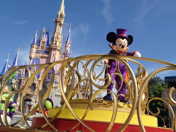 Mickey Mouse on parade float at Magic Kingdom.