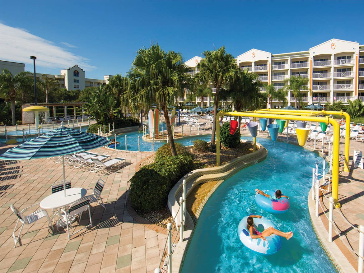 Outdoor lazy river at Cape Canaveral Beach Resort.