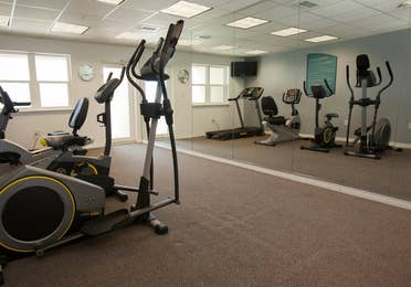 Fitness center with stationary bikes, treadmills and ellipticals at Panama City Beach Resort in Florida.
