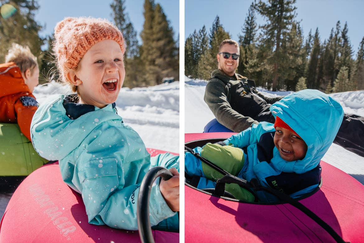 Left: Andrea Rassmussen's daughter is all smiles as she rides a snow tube down the track. Right: Zeke and Andrea's husband are all smiles on the tube track.