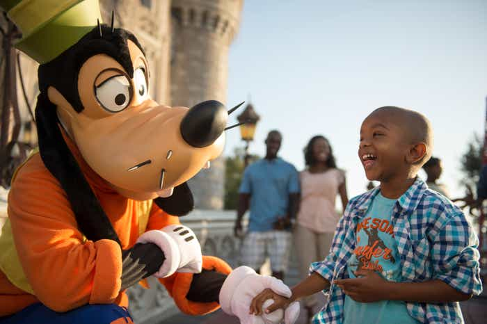 Child shaking hands with Goofy at Walt Disney World Theme Parks